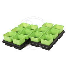 Doniczki kwadratowe 8x8x8 cm - 12 sztuk ZIELONE VEFI