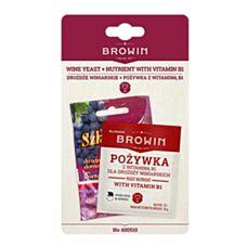 Drożdże winiarskie 20 ml oraz pożywka z witaminą B1 10g Biowin