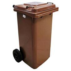 Kosz na odpady 120L na kółkach brązowy